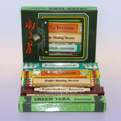 Благовония TibHouse Green Tara Gift Pack (TB111), набор 5х15 шт, 14 см